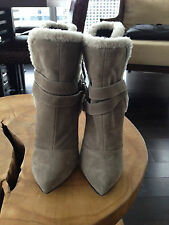 Gorgeous Giuseppe Zanotti gray suede shearling buckled ankle boot! SIze 37!