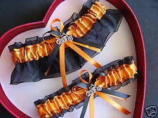 NEW Bridal Wedding Garter Set Orange Black Harley Motorcycle PROM