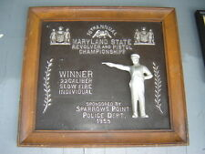 1955 Maryland State Revolver Pistol Championship Plaque Sparrows Point Police