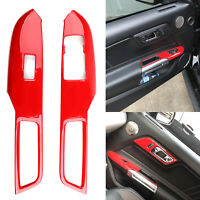 Red Interior Window Switch Lock Cover Trim For Ford Mustang 2015 2016 2017-18 T0