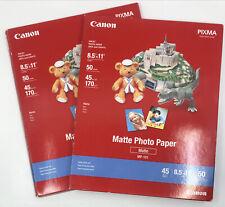 "Set of 2 Canon 8.5"" x 11"" Matte Photo Paper MP-101 50 Sheets + 21 sheets PIXMA"