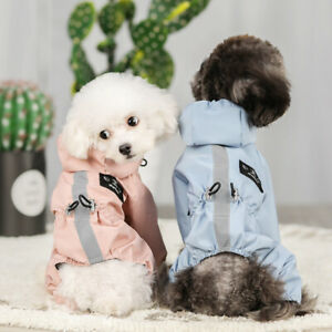 Dog Clothes Rain Coat 4 Legs Pet Raincoat Hoodie For Small Middle Dog Reflective