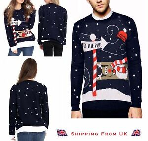 Ladies Mens 'To the Pub' Reindeer Novelty Unisex Xmas Christmas Sweater Jumper
