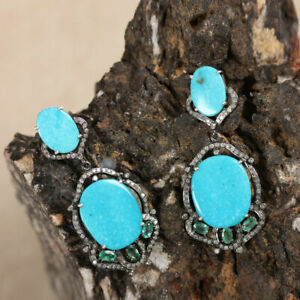 Earring Natural pave Diamond Turquoise Emerald Gemstone 925 Silver jewelry