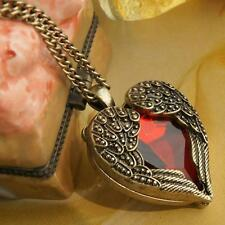 Vintage Jewelry Heart Pendant Necklace Red Rhinestone Angel Wing