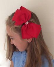 Red Christmas Bow Hair Clip With Diamanté Snow Flake