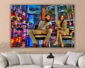 Canvas of Nipsey Hussle and Lauren London Ready-to-hang art better than a poster