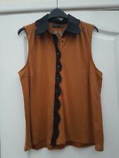 ATMOSPHERE CAMEL TAN COTTON BLACK COLLARED BUTTON FRONT SCALLOP TRIM TANK TOP 10