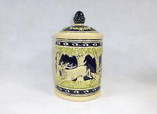 Pot di tabacco con coperchio Motivi Caccia Ceramica a 1900 Cacciatore Cervi