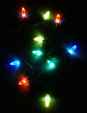 Christmas Red Green Blue Yellow 10 LED Bulb Lights Battery Power 2-AA DIY