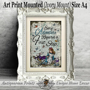 Alice in Wonderland First Step on Antique Dictionary Book Page Mounted
