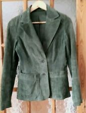 """Vintage BAY Green Real Suede Leather Jacket Size:10  - 34"""" Chest"""