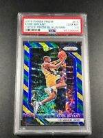 KOBE BRYANT 2018 PANINI PRIZM #15 CHOICE BLUE YELLOW REFRACTOR PSA 10 LAKERS