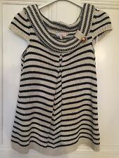 RIVER ISLAND NAVY AND CREAM SHORT SLEEVE KNITTED TOP SIZE 10 Bnwot
