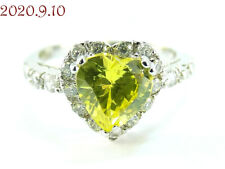 Ring Size 7.25 New with Tag Lemon-Lime Heart Cubic Zirconia Sterling Silver 925