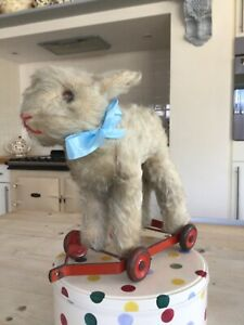 Antique vintage Chiltern Sheep on wheels,mohair pull along toy lamb,1940/50s