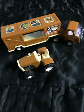 Vintage 1970's Pressed Steel - Brown Tractor Trailer Truck Combo Buddy L Farms