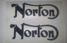 Norton Tank vinyl cut sticker / decal pair, 160mm x 55mm Black.
