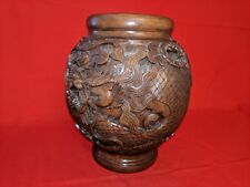 """Balinese Traditional Lotus Wooden Vase Carved Wood Hand Carved From Bali 8 1/2""""."""