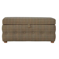 In076 - Footstool With Bun Feet & Buttons on All Sides