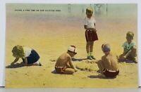 Children In Beach Scene Playing in the Sand c1940 Postcard J18