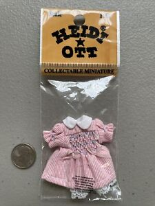 Heidi Ott  Dollhouse Miniature 1:12 Scale Baby Girl Clothes Outfit Dress Pink