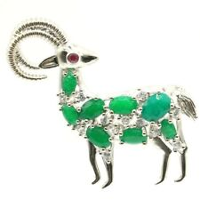 New Designed Long Big Goat Shape Real Green Emerald Tourmaline CZ Silver Brooch