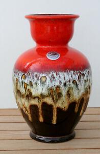 Jasba Keramik Fat lava Vase, #N902 10 24cm, rot, weiss, braun, Glitzer, WGP, MCM