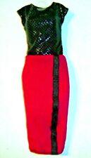 %***Barbie Fashionistas Kleidung,Kleid in glitzerschwarz-rot***%