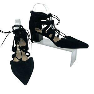 Sole Society Kitt Pumps Womens Size 9 Cutout Black Suede Gillie Lace Block Heels