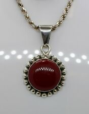 "Vintage Mexican Sterling Silver 925 Round Red Jasper Pendant Necklace 20"" *20.6g"