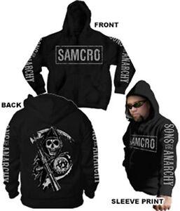 Official Sons of Anarchy Samcro Logo 4 Print Adult Zip Up Hoodie Sweatshirt