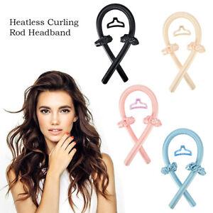 Women Girl Silk Ribbon Hair Curler Heatless Curling Rod Headband Wave Former