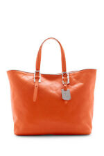 $660 Longchamp LM Cuir Shoulder Tote Orange Silver Trim 1525 746  Authentic NEW