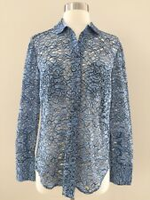 New JCrew Collection Shirt In French Lace Top Blouse Blue Size 4 F6009 Sold Out