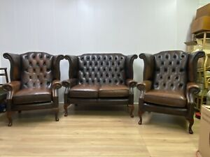 Chesterfield Queen Anne suite 2 seater sofa and 2 Chairs in Tobacco brown