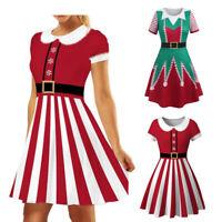 Women Christmas Elf Printed Party Holiday Dress Santa Costume Xmas A-line Dress