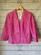 Banana Republic Womens Pink Wool Collarless 3/4 Sleeve Blazer Jacket Size 12