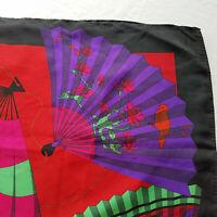 """Vintage Ginnie Johansen Silk Japanese Hand Fan Scarf Birds Red/Purple/Green 35"""""""