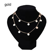 Women Sequins Pendant Choker Necklace Long Chain Collar Punk Bohemia Jewelry zty