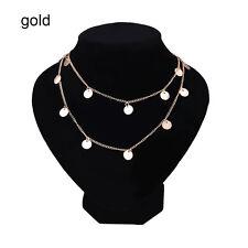 Women Sequins Pendant Choker Necklace Long Chain Collar Punk Bohemia Jewelry zty