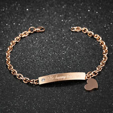 Edelstahl Damen Armband mit Herz Anhänger Armkette Roségold Steel Bracelet 20 cm