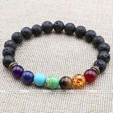 1pc Mens 7 Chakra Healing Balance Bracelet Lava Rock Yoga Reiki Prayer Gemstones