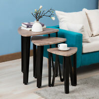 Nest of 3 Wood Coffee Table Nightstand End/Side Bedside Living Room Furniture