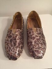 EUC TOMS Sequin Leopard-Print Slip-On Flats, Neiman Exclusive, Size 37-7 $135