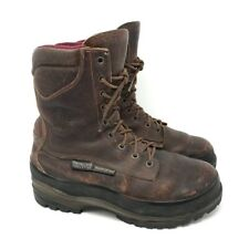 Chippewa Mens Outdoor Work Boots Brown Leather Lace Up Waterproof Vibram 10 W