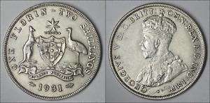 1931 FLORIN - GEORGE V - * 8 PEARLS* - SILVER .925 HIGH DETAIL - KEY DATE (KK9C)