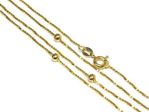 """.750 18ct YELLOW GOLD Ball & Box Chain Necklace, Length - 19.4"""" 3.50g - D31"""