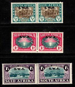 1939 South West Africa Sc #B9-B11 Huguenots Semi-Postals Mint LH; SCV $69.00