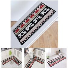 2-Piece Non Slip Kitchen Floor Mat Rubber Backing Runner Carpet Rug, Cows